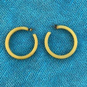 Vintage yellow Bakelite hoop earrings